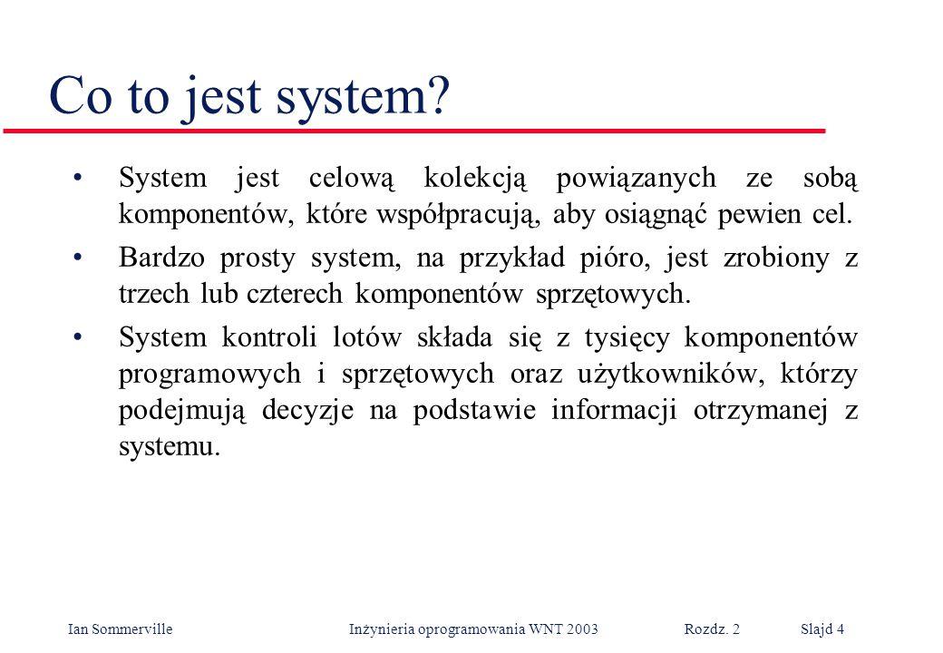Ian Sommerville Inżynieria oprogramowania WNT 2003 Rozdz. 2Slajd 4 Co to jest system? System jest celową kolekcją powiązanych ze sobą komponentów, któ
