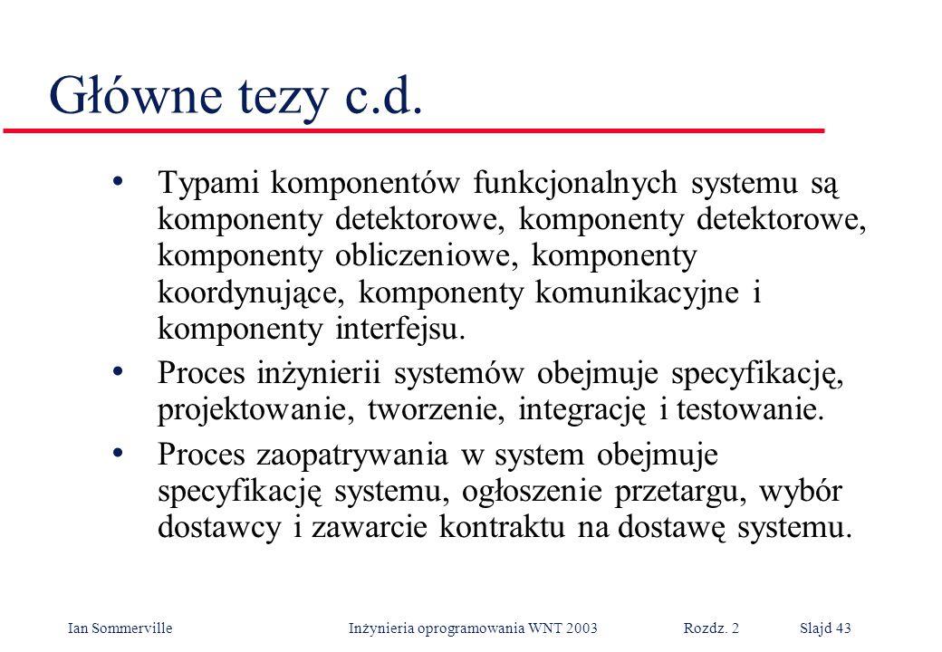 Ian Sommerville Inżynieria oprogramowania WNT 2003 Rozdz. 2Slajd 43 Główne tezy c.d. Typami komponentów funkcjonalnych systemu są komponenty detektoro