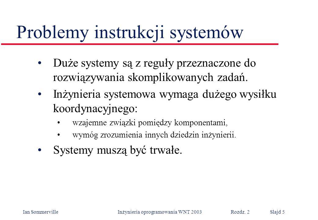 Ian Sommerville Inżynieria oprogramowania WNT 2003 Rozdz. 2Slajd 5 Problemy instrukcji systemów Duże systemy są z reguły przeznaczone do rozwiązywania