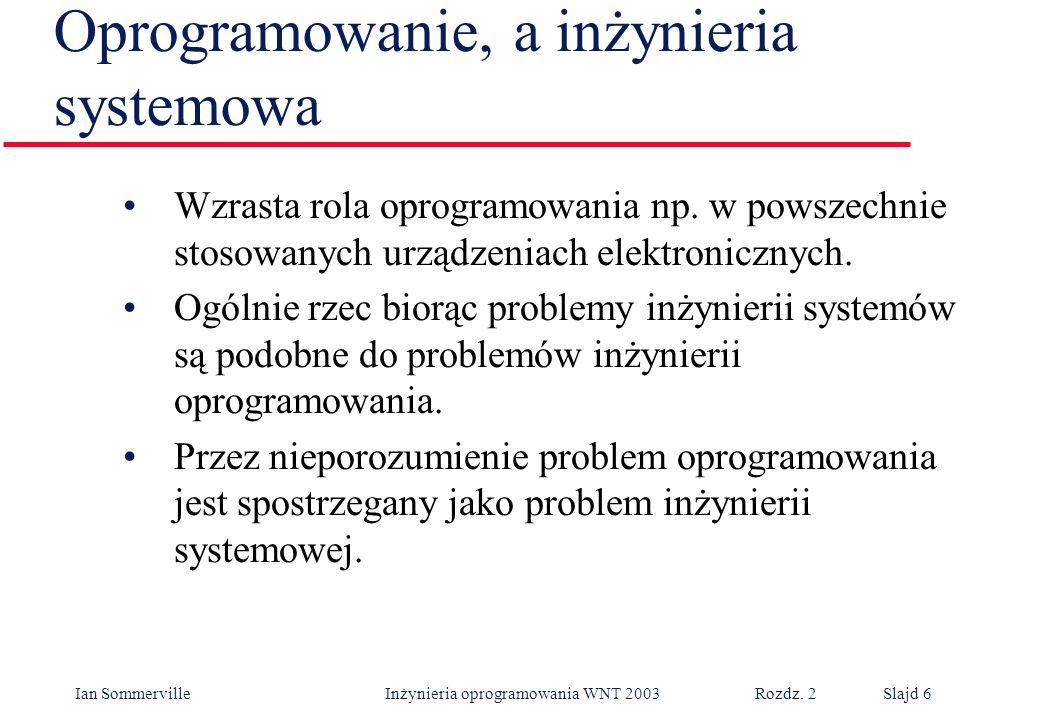 Ian Sommerville Inżynieria oprogramowania WNT 2003 Rozdz. 2Slajd 6 Oprogramowanie, a inżynieria systemowa Wzrasta rola oprogramowania np. w powszechni