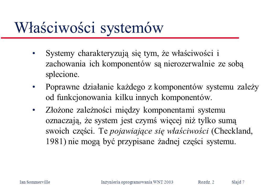 Ian Sommerville Inżynieria oprogramowania WNT 2003 Rozdz. 2Slajd 7 Właściwości systemów Systemy charakteryzują się tym, że właściwości i zachowania ic