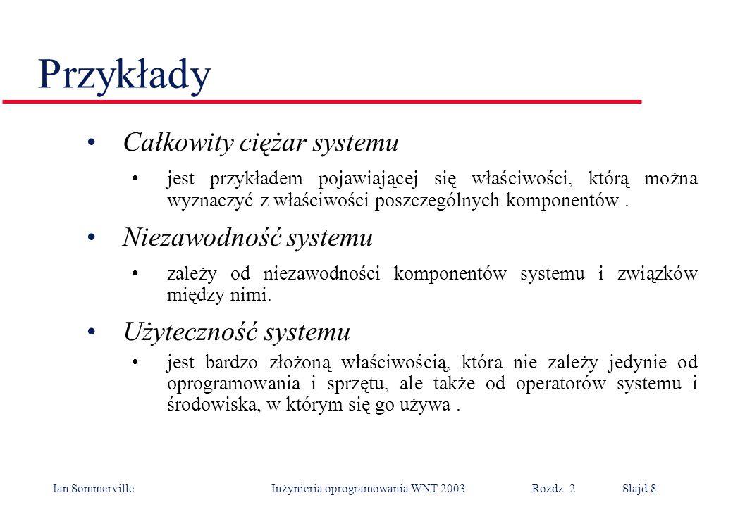 Ian Sommerville Inżynieria oprogramowania WNT 2003 Rozdz. 2Slajd 8 Przykłady Całkowity ciężar systemu jest przykładem pojawiającej się właściwości, kt
