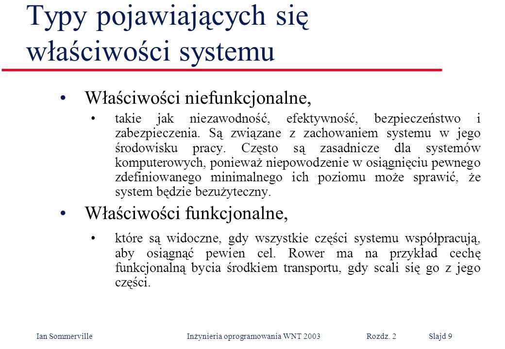 Ian Sommerville Inżynieria oprogramowania WNT 2003 Rozdz. 2Slajd 9 Typy pojawiających się właściwości systemu Właściwości niefunkcjonalne, takie jak n