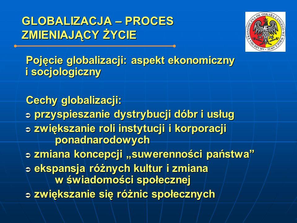GLOBALIZACJA – PROCES ZMIENIAJĄCY ŻYCIE Pojęcie globalizacji: aspekt ekonomiczny i socjologiczny Cechy globalizacji:  przyspieszanie dystrybucji dóbr