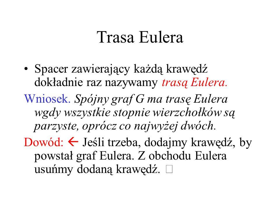 Trasa Eulera Spacer zawierający każdą krawędź dokładnie raz nazywamy trasą Eulera.