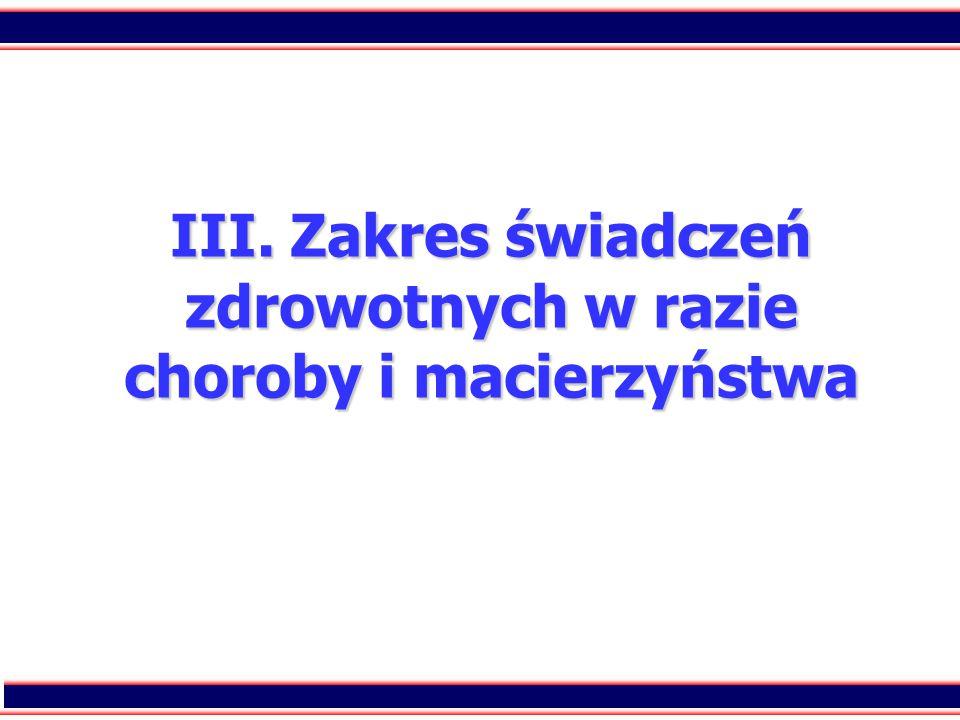 13 III. Zakres świadczeń zdrowotnych w razie choroby i macierzyństwa