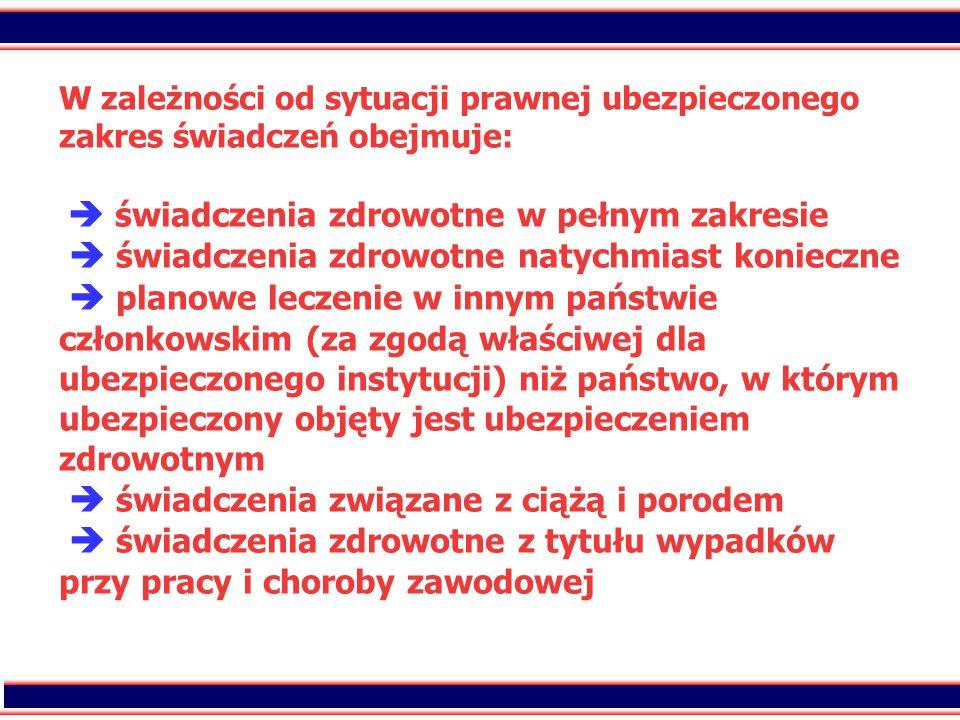 15 W zależności od sytuacji prawnej ubezpieczonego zakres świadczeń obejmuje:  świadczenia zdrowotne w pełnym zakresie  świadczenia zdrowotne natych