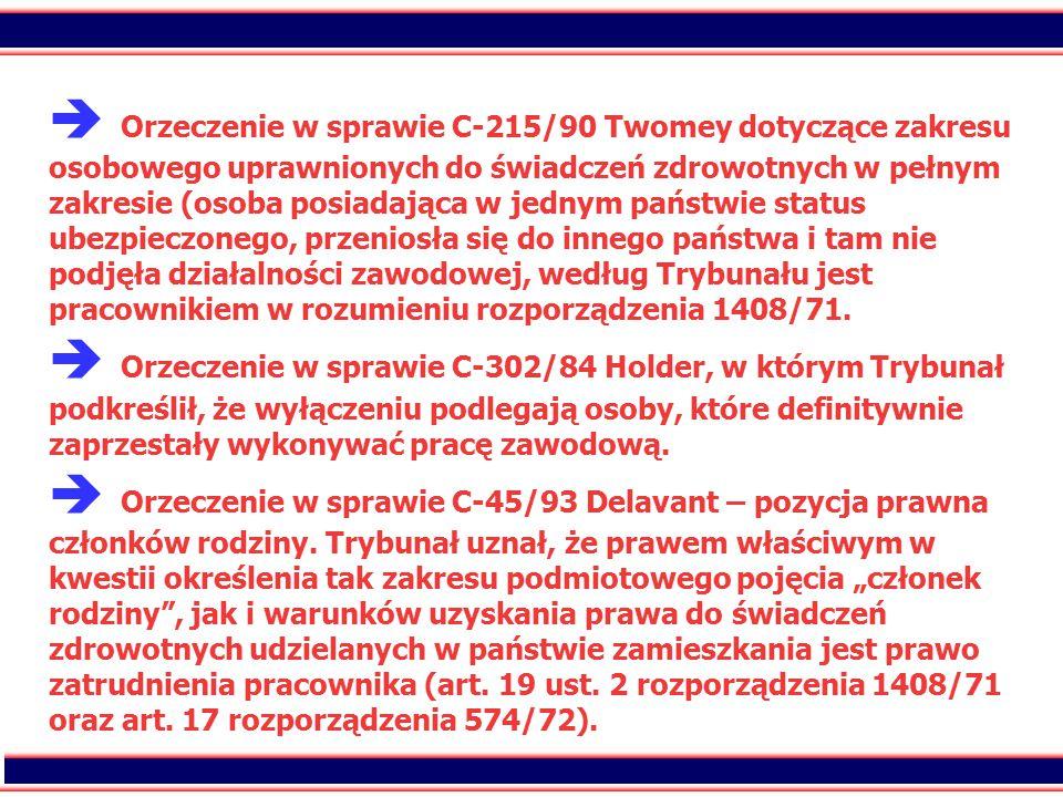 20  Orzeczenie w sprawie C-215/90 Twomey dotyczące zakresu osobowego uprawnionych do świadczeń zdrowotnych w pełnym zakresie (osoba posiadająca w jednym państwie status ubezpieczonego, przeniosła się do innego państwa i tam nie podjęła działalności zawodowej, według Trybunału jest pracownikiem w rozumieniu rozporządzenia 1408/71.