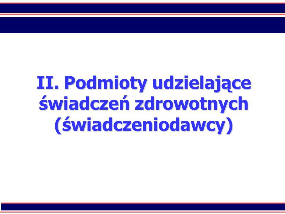 9 II. Podmioty udzielające świadczeń zdrowotnych (świadczeniodawcy)