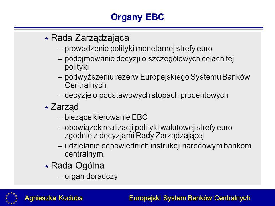 Agnieszka Kociuba Europejski System Banków Centralnych  Rada Zarządzająca –prowadzenie polityki monetarnej strefy euro –podejmowanie decyzji o szczegółowych celach tej polityki –podwyższeniu rezerw Europejskiego Systemu Banków Centralnych –decyzje o podstawowych stopach procentowych  Zarząd –bieżące kierowanie EBC –obowiązek realizacji polityki walutowej strefy euro zgodnie z decyzjami Rady Zarządzającej –udzielanie odpowiednich instrukcji narodowym bankom centralnym.
