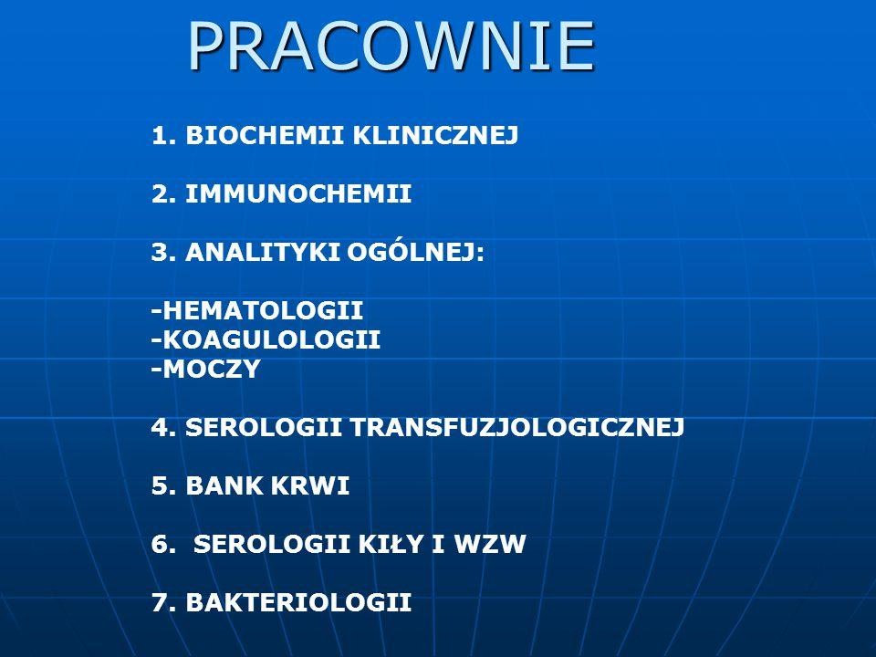 1. BIOCHEMII KLINICZNEJ 2. IMMUNOCHEMII 3. ANALITYKI OGÓLNEJ: -HEMATOLOGII -KOAGULOLOGII -MOCZY 4. SEROLOGII TRANSFUZJOLOGICZNEJ 5. BANK KRWI 6. SEROL