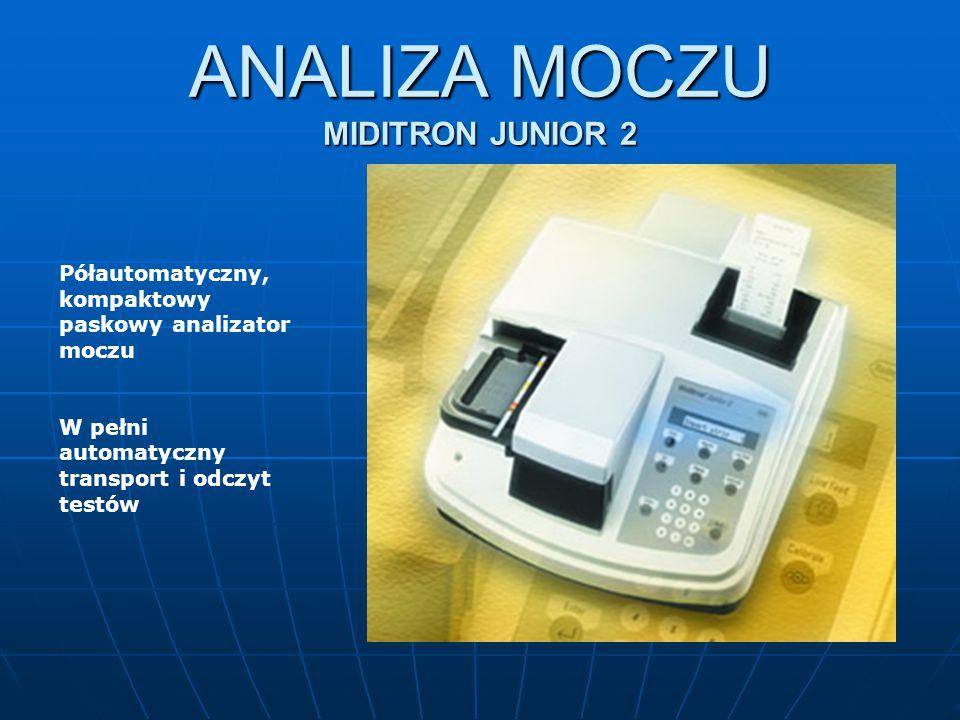 ANALIZA MOCZU MIDITRON JUNIOR 2 Półautomatyczny, kompaktowy paskowy analizator moczu W pełni automatyczny transport i odczyt testów