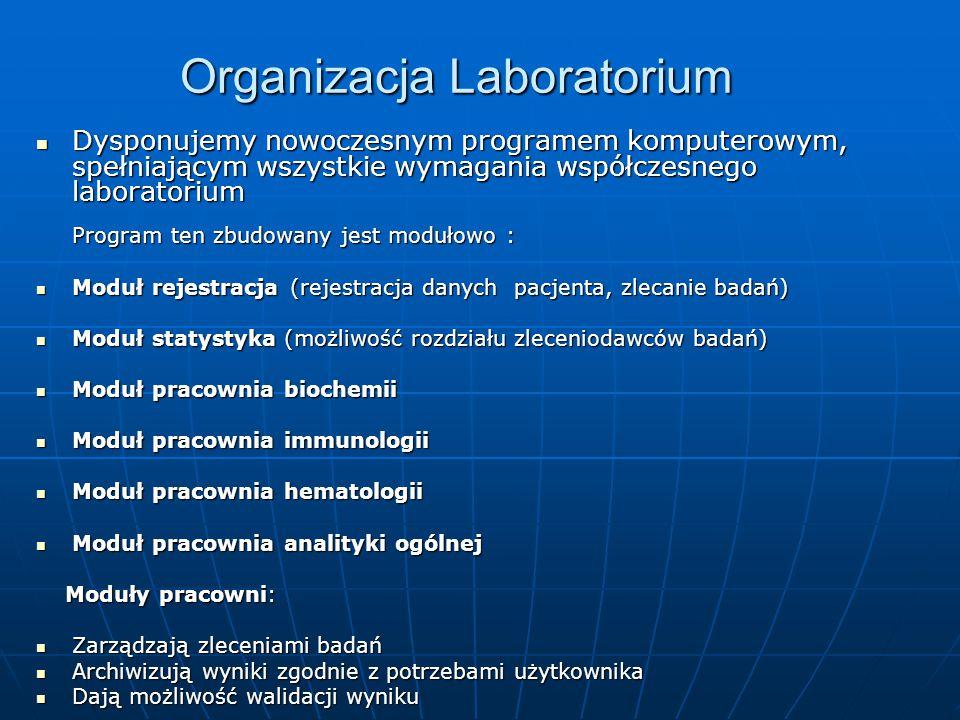 Organizacja Laboratorium Dysponujemy nowoczesnym programem komputerowym, spełniającym wszystkie wymagania współczesnego laboratorium Program ten zbudo
