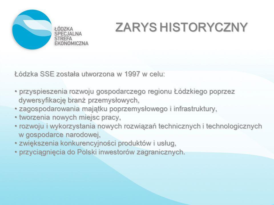 ZARYS HISTORYCZNY Łódzka SSE została utworzona w 1997 w celu: przyspieszenia rozwoju gospodarczego region u Łódzkiego poprzez dywersyfikację branż prz