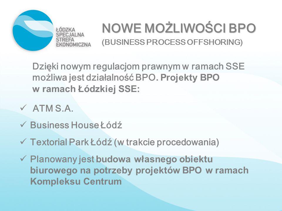 NOWE MOŻLIWOŚCI BPO (BUSINESS PROCESS OFFSHORING) Dzięki nowym regulacjom prawnym w ramach SSE możliwa jest działalność BPO. Projekty BPO w ramach Łód