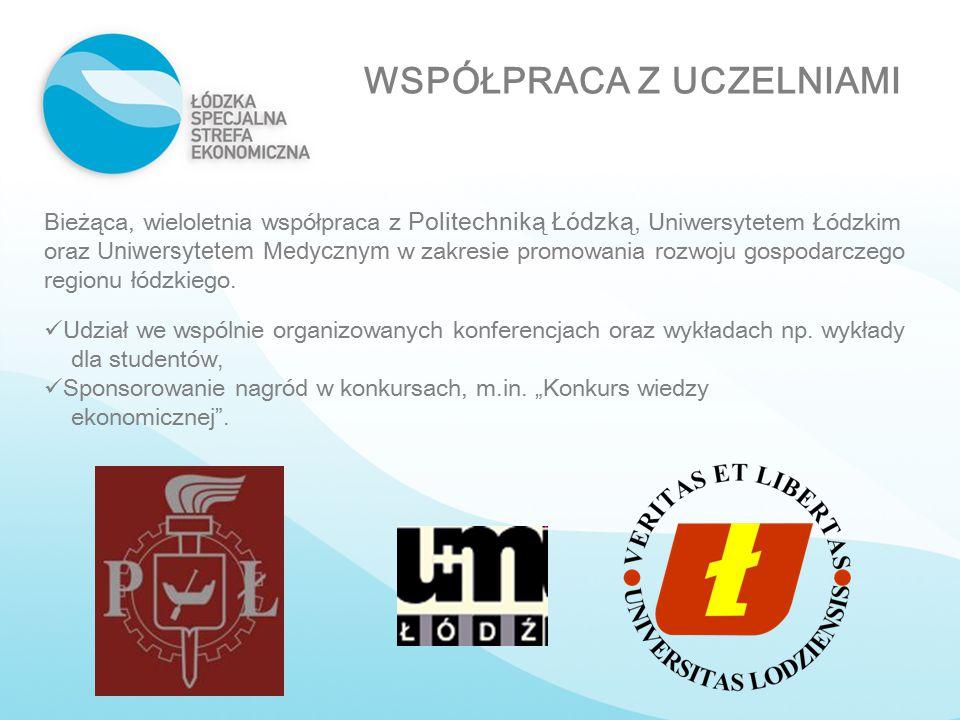 WSPÓŁPRACA Z UCZELNIAMI Bieżąca, wieloletnia współpraca z Politechniką Łódzką, Uniwersytetem Łódzkim oraz Uniwersytetem Medycznym w zakresie promowani
