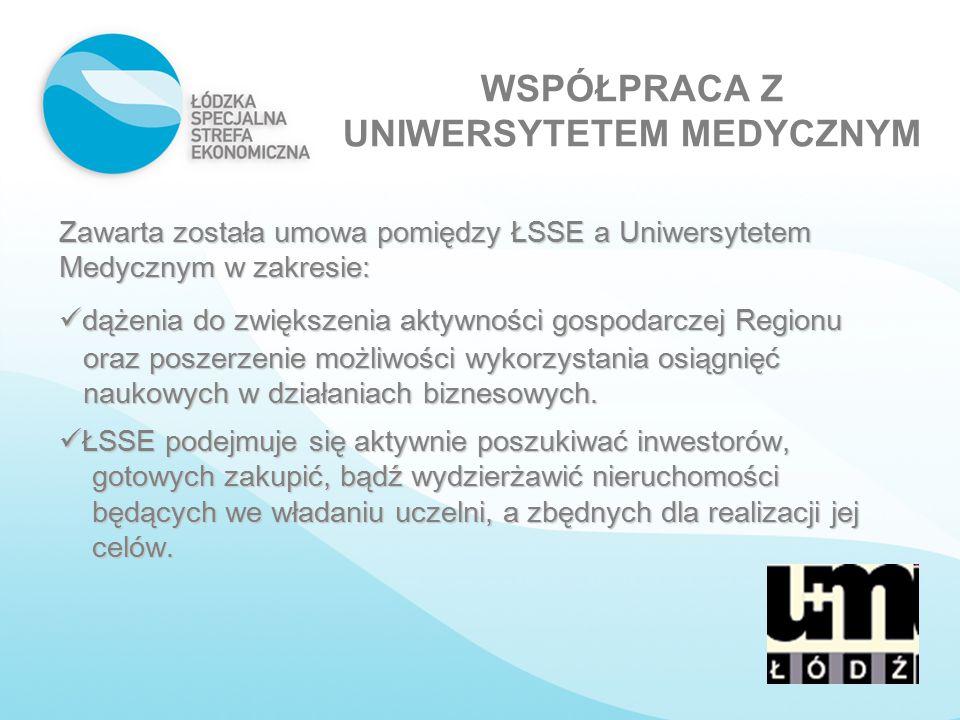 WSPÓŁPRACA Z UNIWERSYTETEM MEDYCZNYM Zawarta została umowa pomiędzy ŁSSE a Uniwersytetem Medycznym w zakresie: dążenia do zwiększenia aktywności gospo