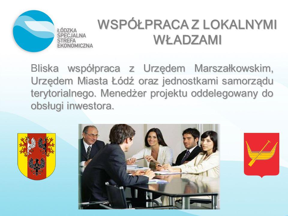 WSPÓŁPRACA Z LOKALNYMI WŁADZAMI liska współpraca z Urzędem Marszałkowskim, Urzędem Miasta Łódź oraz jednostkami samorządu terytorialnego. Menedżer pro