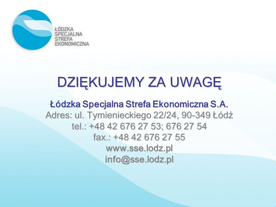 DZIĘKUJEMY ZA UWAGĘ Łódzka Specjalna Strefa Ekonomiczna S.A. Adres: ul. Tymienieckiego 22/24, 90-349 Łódź tel.: +48 42 676 27 53; 676 27 54 fax.: +48