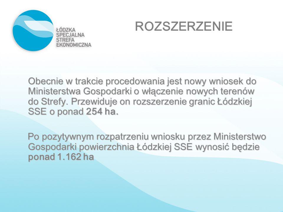 ROZSZERZENIE Obecnie w trakcie procedowania jest nowy wniosek do Ministerstwa Gospodarki o włączenie nowych terenów do Strefy. Przewiduje on rozszerze