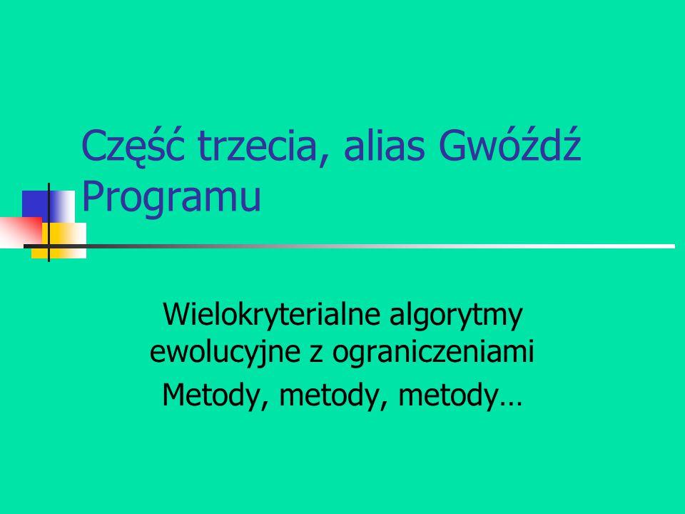 Część trzecia, alias Gwóźdź Programu Wielokryterialne algorytmy ewolucyjne z ograniczeniami Metody, metody, metody…