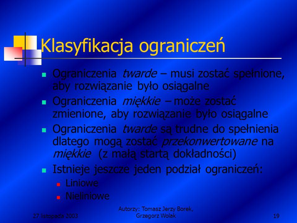 27 listopada 2003 Autorzy: Tomasz Jerzy Borek, Grzegorz Wolak19 Klasyfikacja ograniczeń Ograniczenia twarde – musi zostać spełnione, aby rozwiązanie było osiągalne Ograniczenia miękkie – może zostać zmienione, aby rozwiązanie było osiągalne Ograniczenia twarde są trudne do spełnienia dlatego mogą zostać przekonwertowane na miękkie (z małą startą dokładności) Istnieje jeszcze jeden podział ograniczeń: Liniowe Nieliniowe