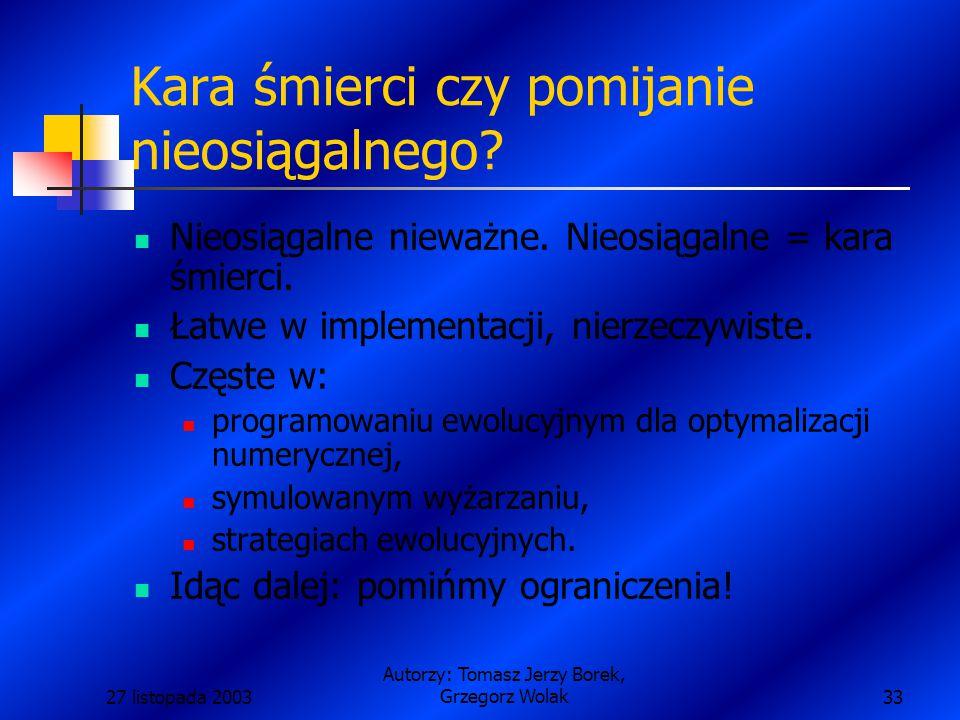 27 listopada 2003 Autorzy: Tomasz Jerzy Borek, Grzegorz Wolak33 Kara śmierci czy pomijanie nieosiągalnego.