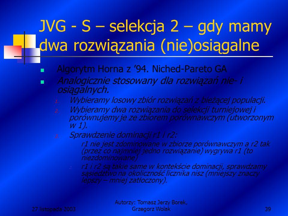 27 listopada 2003 Autorzy: Tomasz Jerzy Borek, Grzegorz Wolak39 JVG - S – selekcja 2 – gdy mamy dwa rozwiązania (nie)osiągalne Algorytm Horna z '94.
