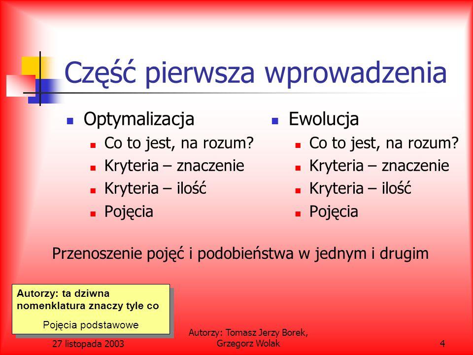 27 listopada 2003 Autorzy: Tomasz Jerzy Borek, Grzegorz Wolak45 Metoda turnieju ograniczeń – definicja ograniczenia dominacji Constraint-domination principle.