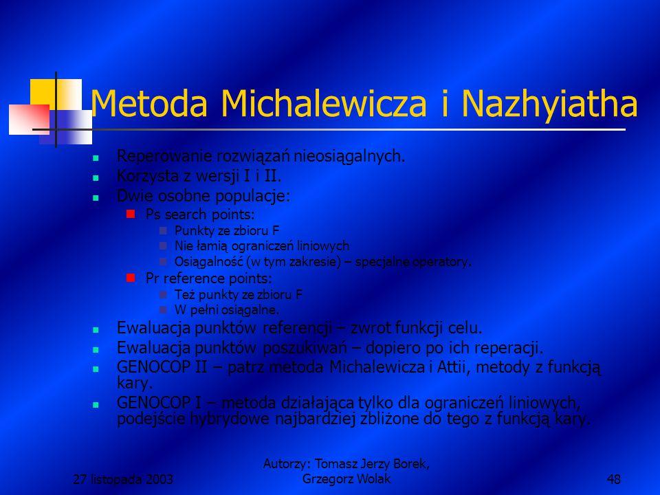 27 listopada 2003 Autorzy: Tomasz Jerzy Borek, Grzegorz Wolak48 Metoda Michalewicza i Nazhyiatha Reperowanie rozwiązań nieosiągalnych.