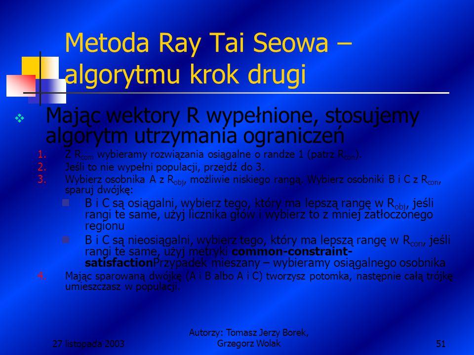 27 listopada 2003 Autorzy: Tomasz Jerzy Borek, Grzegorz Wolak51 Metoda Ray Tai Seowa – algorytmu krok drugi  Mając wektory R wypełnione, stosujemy algorytm utrzymania ograniczeń 1.Z R com wybieramy rozwiązania osiągalne o randze 1 (patrz R con ).