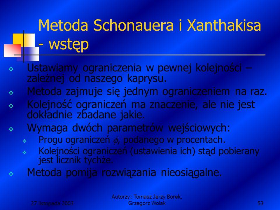 27 listopada 2003 Autorzy: Tomasz Jerzy Borek, Grzegorz Wolak53 Metoda Schonauera i Xanthakisa - wstęp  Ustawiamy ograniczenia w pewnej kolejności – zależnej od naszego kaprysu.