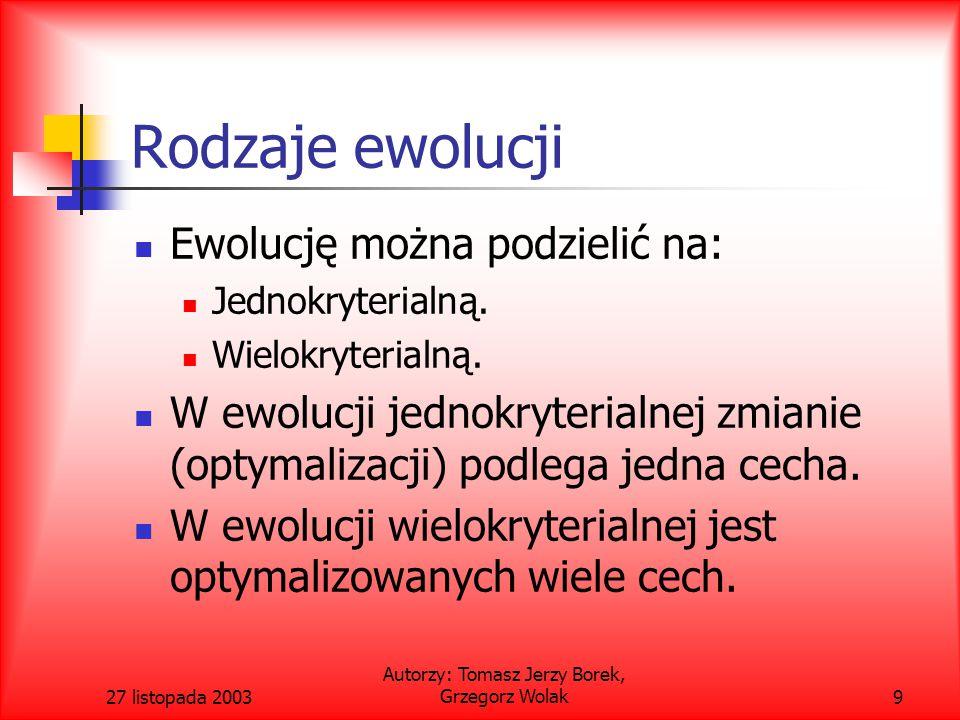 27 listopada 2003 Autorzy: Tomasz Jerzy Borek, Grzegorz Wolak40 Metoda Jimenez Verdegay Gomez - Skarmety – zalety i wady Wymaga obliczeń licznika nisz (nich count) dla każdego rozwiązania.