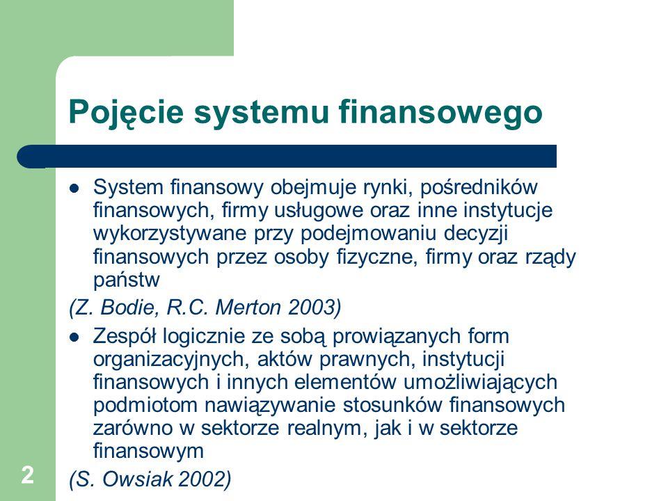 2 Pojęcie systemu finansowego System finansowy obejmuje rynki, pośredników finansowych, firmy usługowe oraz inne instytucje wykorzystywane przy podejm