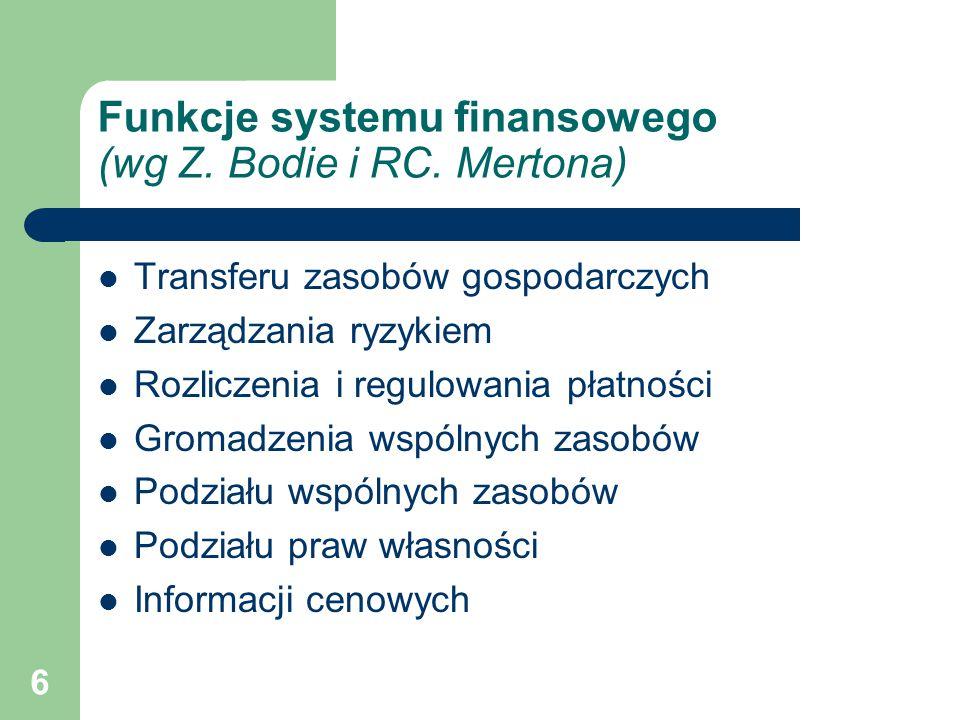 6 Funkcje systemu finansowego (wg Z. Bodie i RC. Mertona) Transferu zasobów gospodarczych Zarządzania ryzykiem Rozliczenia i regulowania płatności Gro