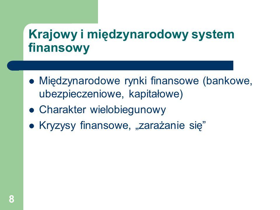 8 Krajowy i międzynarodowy system finansowy Międzynarodowe rynki finansowe (bankowe, ubezpieczeniowe, kapitałowe) Charakter wielobiegunowy Kryzysy fin