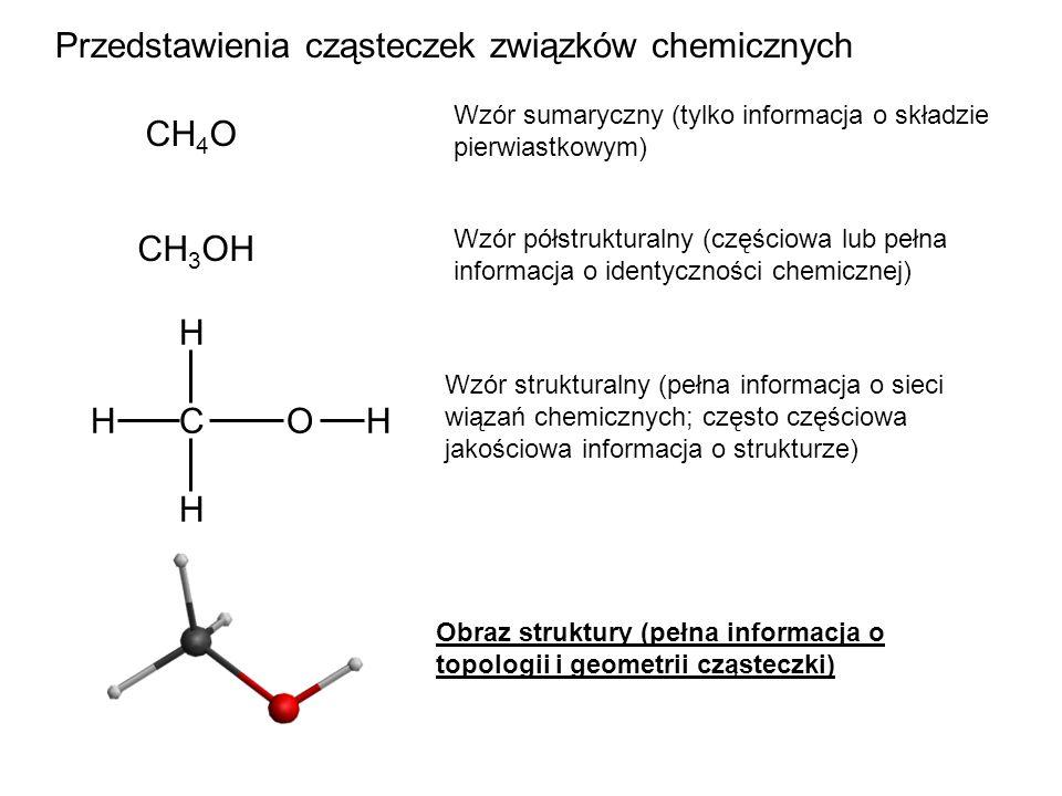 CH 3 OH C H H H OH Wzór półstrukturalny (częściowa lub pełna informacja o identyczności chemicznej) Wzór strukturalny (pełna informacja o sieci wiązań chemicznych; często częściowa jakościowa informacja o strukturze) Obraz struktury (pełna informacja o topologii i geometrii cząsteczki) Przedstawienia cząsteczek związków chemicznych CH 4 O Wzór sumaryczny (tylko informacja o składzie pierwiastkowym)