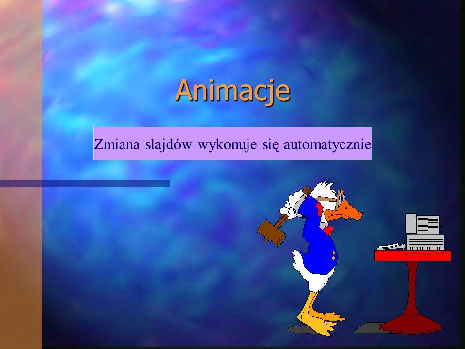 Animacje Zmiana slajdów wykonuje się automatycznie