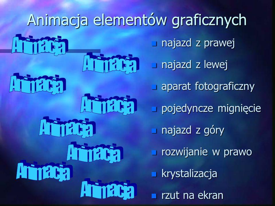 Animacja elementów graficznych n najazd z prawej n najazd z lewej n aparat fotograficzny n pojedyncze mignięcie n najazd z góry n rozwijanie w prawo n krystalizacja n rzut na ekran