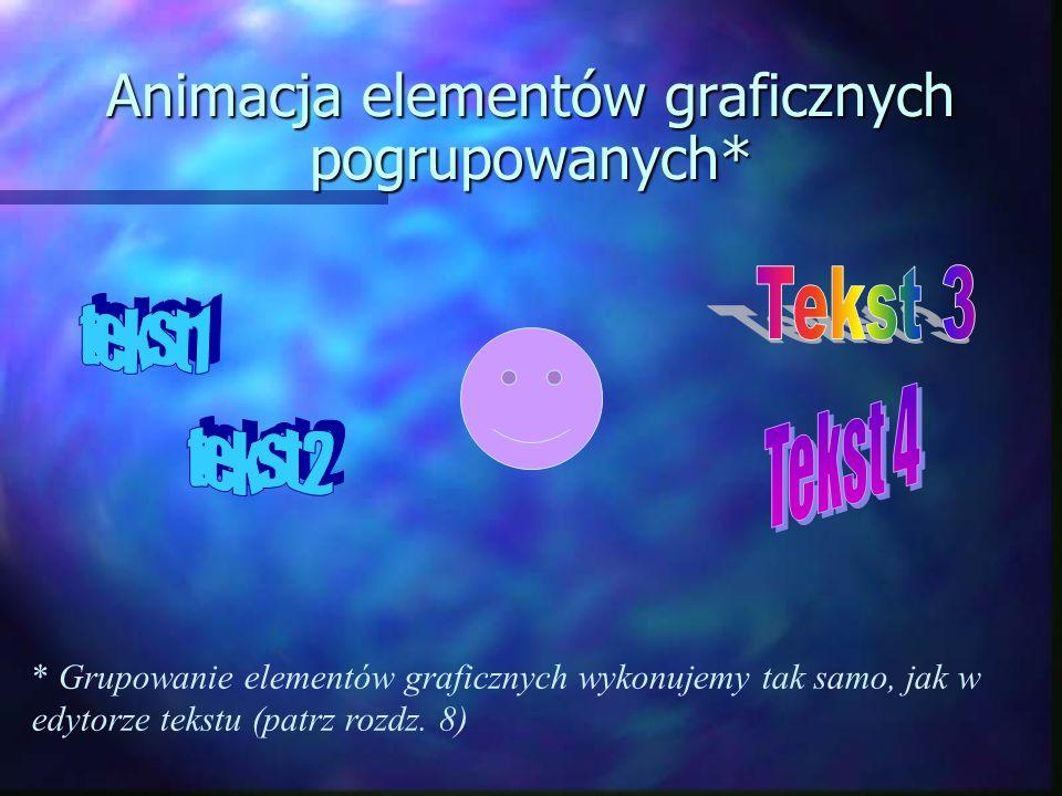 Animacja elementów graficznych pogrupowanych* * Grupowanie elementów graficznych wykonujemy tak samo, jak w edytorze tekstu (patrz rozdz.