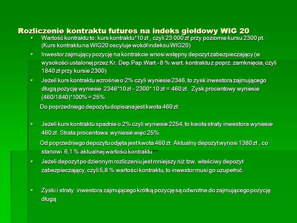 Rozliczenie kontraktu futures na indeks giełdowy WIG 20  Wartość kontraktu to: kurs kontraktu*10 zł, czyli 23 000 zł przy poziomie kursu 2300 pt. (Ku