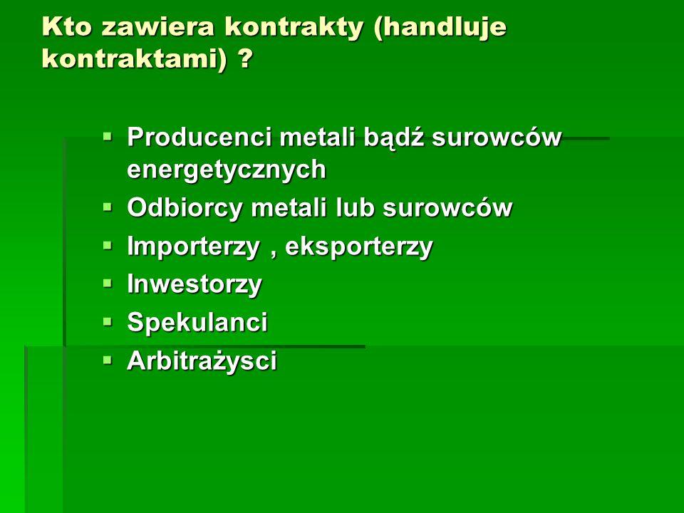 Kto zawiera kontrakty (handluje kontraktami) ?  Producenci metali bądź surowców energetycznych  Odbiorcy metali lub surowców  Importerzy, eksporter
