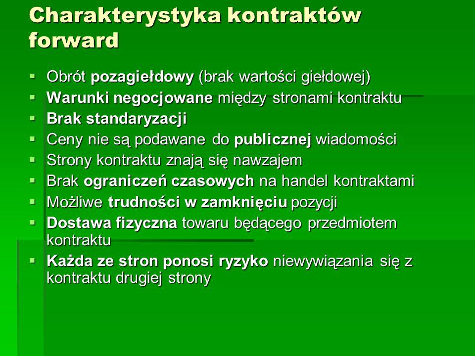 Charakterystyka kontraktów forward  Obrót pozagiełdowy (brak wartości giełdowej)  Warunki negocjowane między stronami kontraktu  Brak standaryzacji