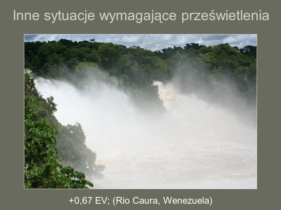 Inne sytuacje wymagające prześwietlenia +0,67 EV; (Rio Caura, Wenezuela)