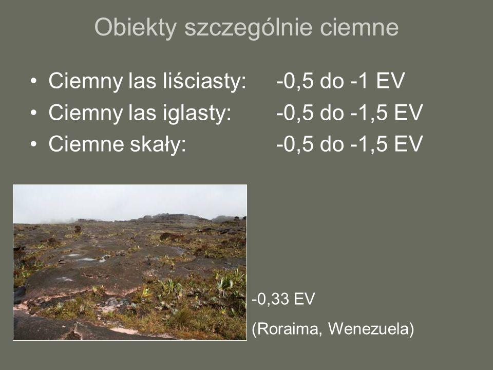 Obiekty szczególnie ciemne Ciemny las liściasty:-0,5 do -1 EV Ciemny las iglasty:-0,5 do -1,5 EV Ciemne skały: -0,5 do -1,5 EV -0,33 EV (Roraima, Wenezuela)