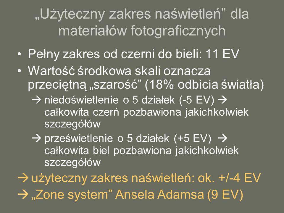 """""""Użyteczny zakres naświetleń dla materiałów fotograficznych Pełny zakres od czerni do bieli: 11 EV Wartość środkowa skali oznacza przeciętną """"szarość (18% odbicia światła)  niedoświetlenie o 5 działek (-5 EV)  całkowita czerń pozbawiona jakichkolwiek szczegółów  prześwietlenie o 5 działek (+5 EV)  całkowita biel pozbawiona jakichkolwiek szczegółów  użyteczny zakres naświetleń: ok."""