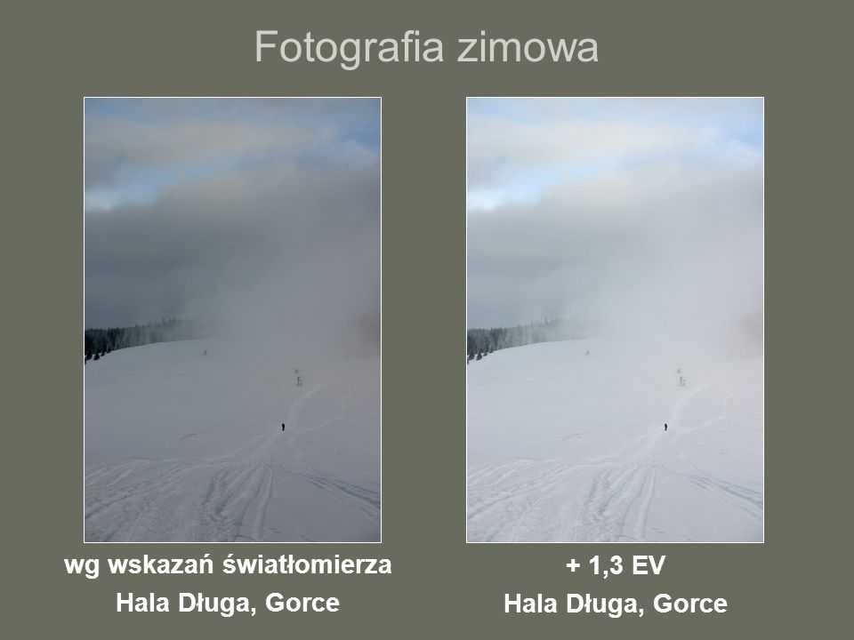 Fotografia zimowa wg wskazań światłomierza Hala Długa, Gorce + 1,3 EV Hala Długa, Gorce
