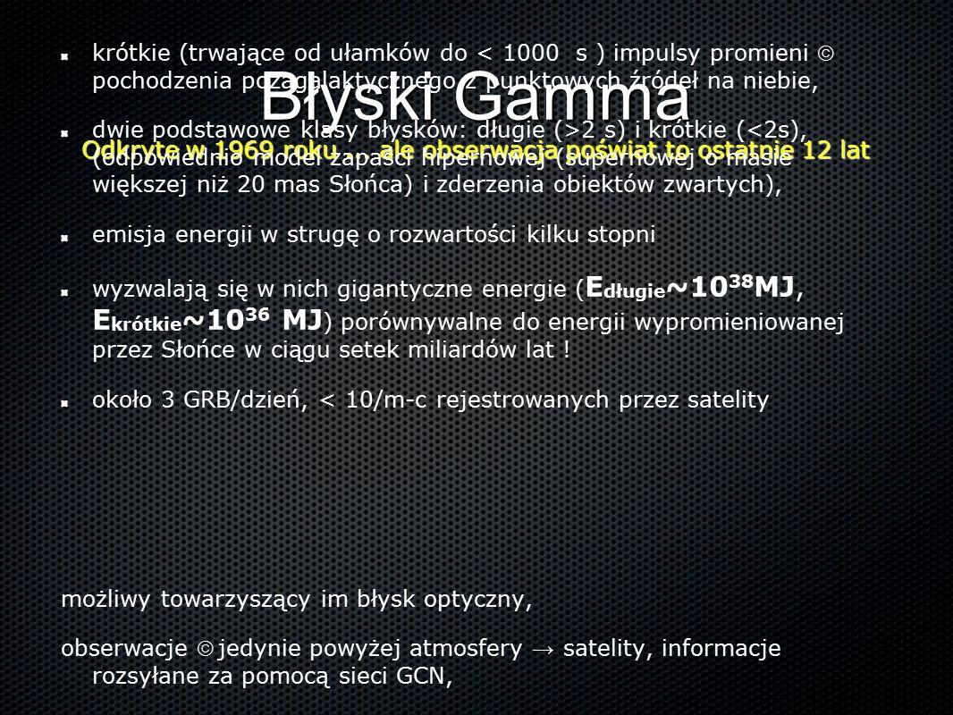 Błyski Gamma Odkryte w 1969 roku... ale obserwacja poświat to ostatnie 12 lat krótkie (trwające od ułamków do < 1000 s ) impulsy promieni  pochodzeni