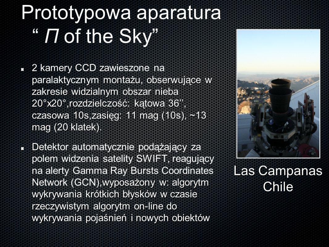 """Prototypowa aparatura """" Π of the Sky"""" montażu, obserwujące w zakresie widzialnym obszar nieba 20°x20°,rozdzielczość: kątowa 36'', czasowa 10s,zasięg:"""