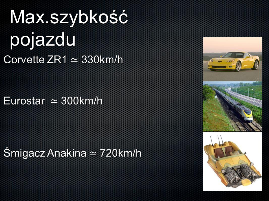 Max.szybkość pojazdu Corvette ZR1 ≃ 330km/h Eurostar ≃ 300km/h Śmigacz Anakina ≃ 720km/h